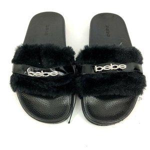 Bebe Girls Shoe Large 2/3 Black Faux Fur Slip On